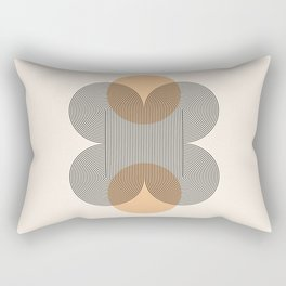 Geometric Lines in Black and Beige (Flower Abstraction) Rectangular Pillow