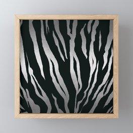 Tiger Skin Print Fur Africa Animal Silver Pattern Framed Mini Art Print
