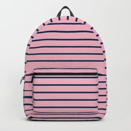 Pink and Navy Blue Horizontal Stripes Backpack