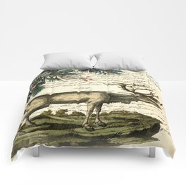 western country primitive christmas mountain animal wildlife winter pine tree elk Comforters