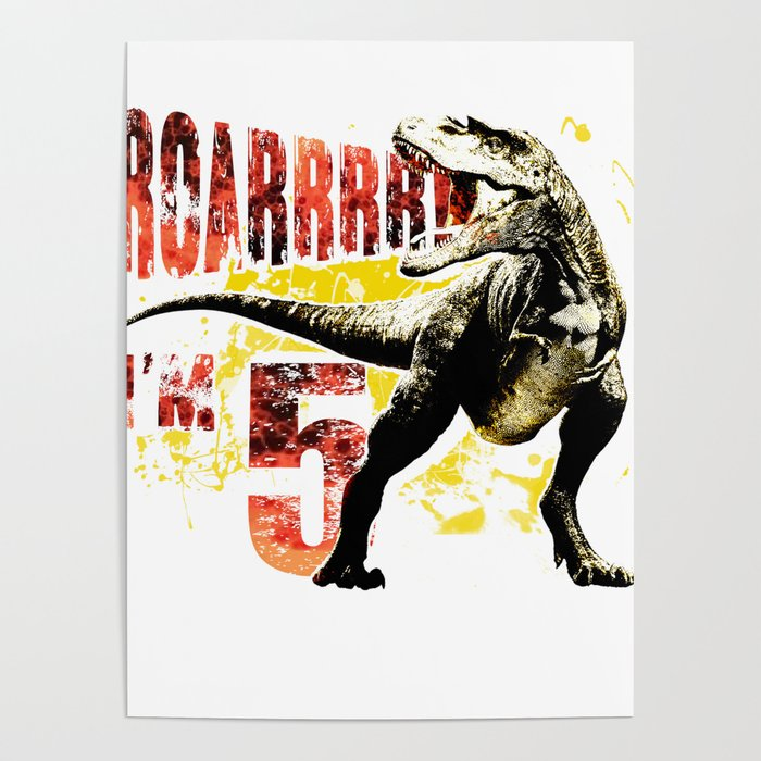 5th Birthday Gift 5 Year Old Boys Dinosaurs Present Poster