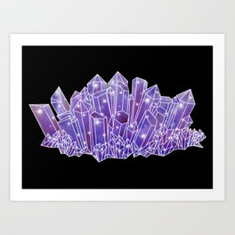 Purple Crystal Cluster Art Print
