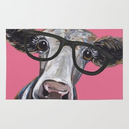 Cow Art, Colorful Cow With Glasses Art. Rug