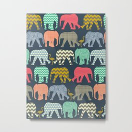 baby elephants and flamingos Metal Print
