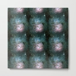Green and Pink Burst Galaxy Metal Print