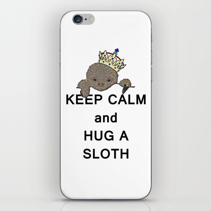 Keep Calm and Hug a Sloth with Crown Meme iPhone Skin