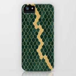 Mermaid Fin Gold Streak // Emerald Green Glittery Scale Watercolor Gradient Bedspread Home Decor iPhone Case
