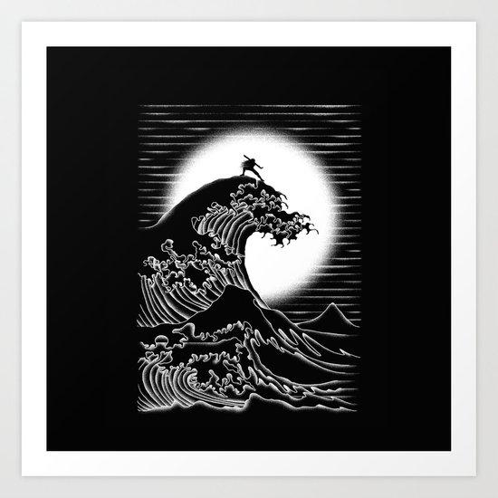 Waterbending (Black) Art Print