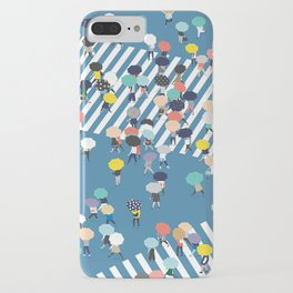 Crossing The Street On a Rainy Day - Blue iPhone Case