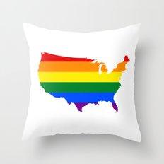 Love Wins Map Throw Pillow