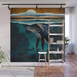 Moonlit Whales Wall Mural