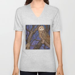 Owl and Moth on Tree, watercolor on canvas, 2009 Unisex V-Neck