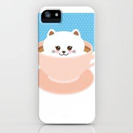 Cute Kawai cat in pink cup, coffee art iPhone Case