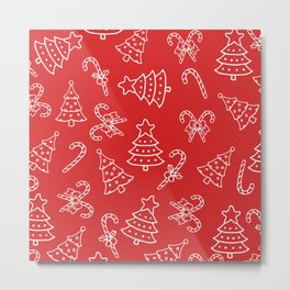 Festive Red White Candy Cane Christmas Tree Metal Print