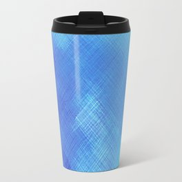 Turquoise Seas Abstract Watercolor - Crosshatched Travel Mug