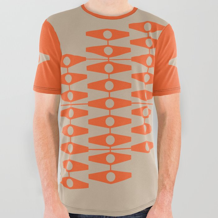 abstract eyes pattern orange tan All Over Graphic Tee