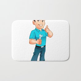 Handyman worker with key in the hand Bath Mat