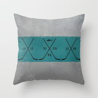 sharks Throw Pillows featuring Sharks by Last Call