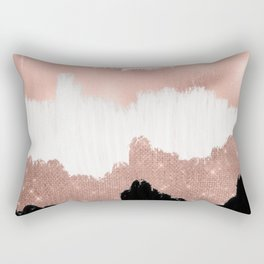 Girly Modern Rose Gold Pink Glitter Brushstroke Art Rectangular Pillow