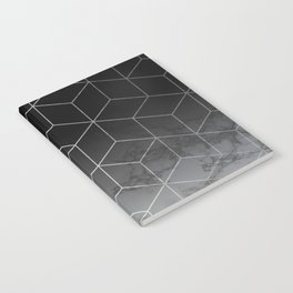 Silver Geometric Cubes Trendy White Grey Marble Notebook