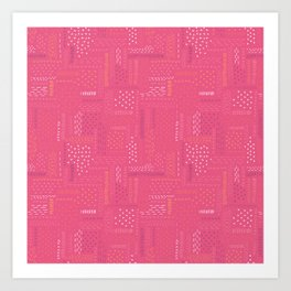 Pink Boro Embroidery Art Print