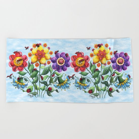 Ladybug Playground on a Summer Day Beach Towel