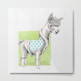 Alpaca in a Coat Metal Print