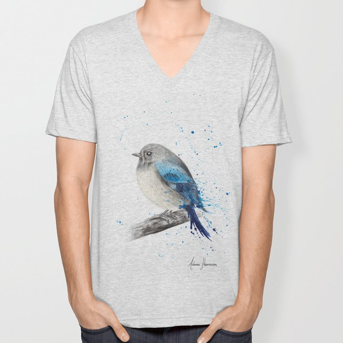 Round and Happy Bird Unisex V-Neck