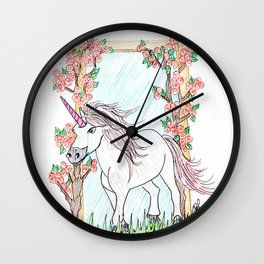 Unicorn and roses Wall Clock