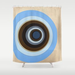 blue and brown circles Shower Curtain
