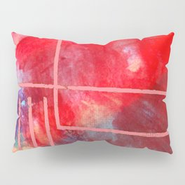 Jubilee: a vibrant abstract piece in reds and pinks Pillow Sham