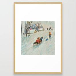 Happy vintage winter sledders Framed Art Print