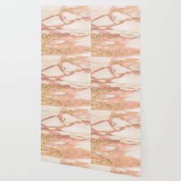 Marble - Rose Gold Shimmer Marble with Yellow Gold Glitter Wallpaper