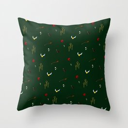 Quidditch Pattern - Slytherin Throw Pillow