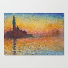 Claude Monet San Giorgio Maggiore at Dusk (Venice) Canvas Print