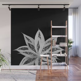 Gray Agave with Black Silver Glitter #2 #shiny #tropical #decor #art #society6 Wall Mural