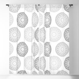 Minimal Mandalas - Black White Grey Pattern Blackout Curtain