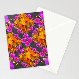 Hot Pink Roses Golden Daffodils Dark Grey Art Stationery Cards