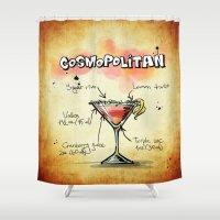 vodka Shower Curtains featuring Cosmopolitan by jamfoto