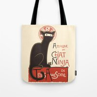 ninja Tote Bags featuring A French Ninja Cat (Le Chat Ninja) by Kyle Walters