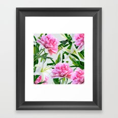 Pink Peonies & White Lilies Framed Art Print