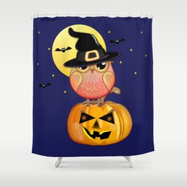 Haloween owl, pumpkin and bats illustration Shower Curtain