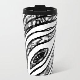 Organic Black & White lines Travel Mug
