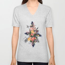 Art boho design with arrows, feathers and flowers. Wild way Unisex V-Neck