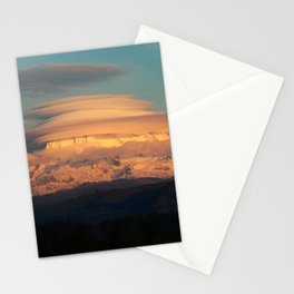 Lenticular Clouds at Sunset on Mount Rainier Stationery Cards