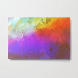 Digital Watercolor Waves Metal Print