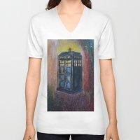 tardis V-neck T-shirts featuring TARDIS by EricaWise
