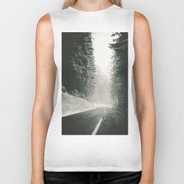 Forest Road In Winter Biker Tank