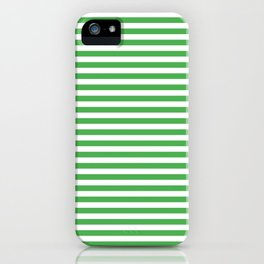 Even Horizontal Stripes, Green and White, S iPhone Case