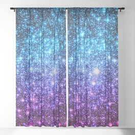 Glitter Galaxy Stars : Turquoise Blue Purple Hot Pink Ombre Sheer Curtain